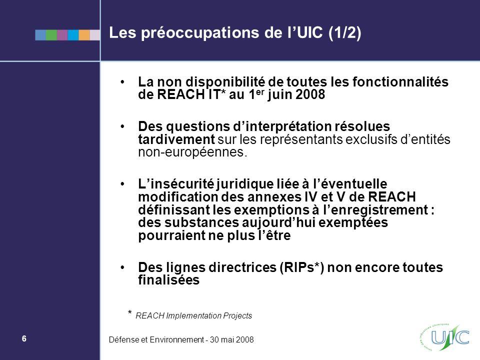 Les préoccupations de l'UIC (1/2)