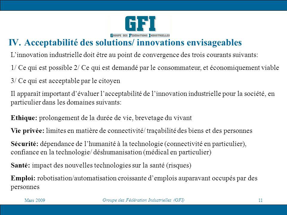 IV. Acceptabilité des solutions/ innovations envisageables