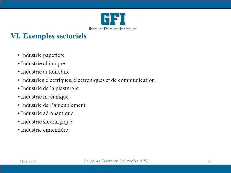 VI. Exemples sectoriels