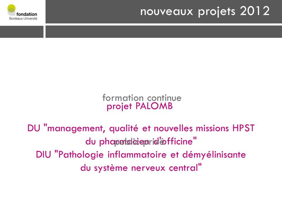 nouveaux projets 2012 formation continue projet PALOMB