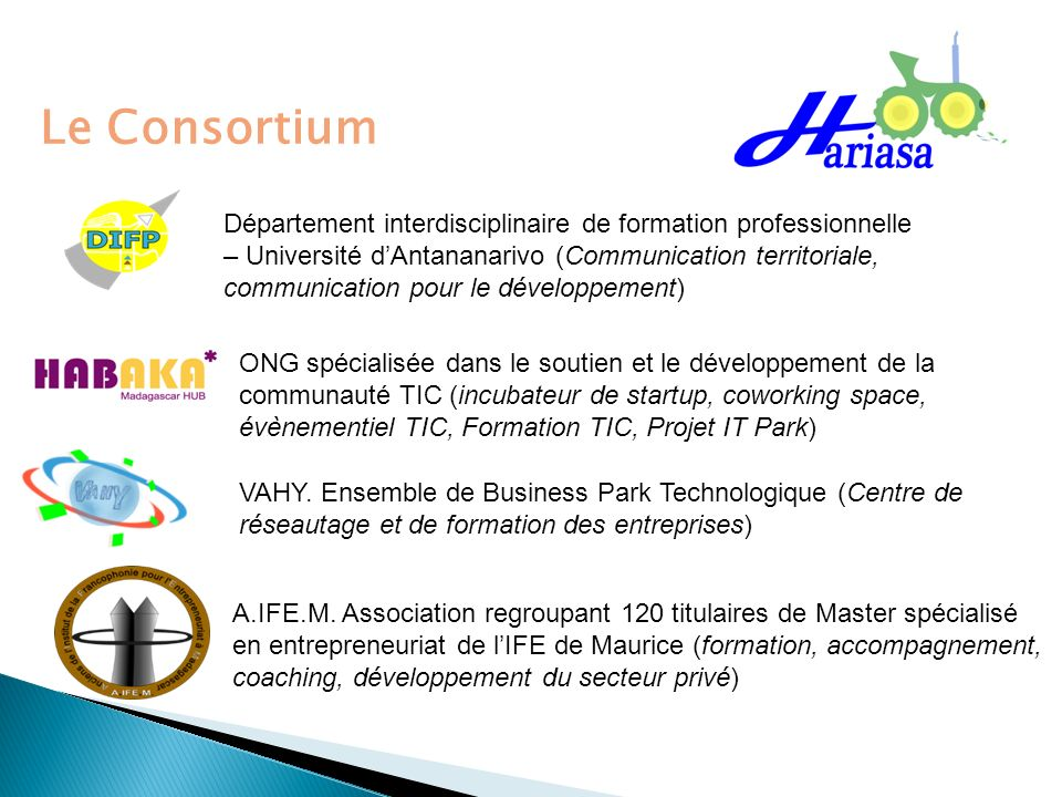 Le Consortium Département interdisciplinaire de formation professionnelle. – Université d'Antananarivo (Communication territoriale,