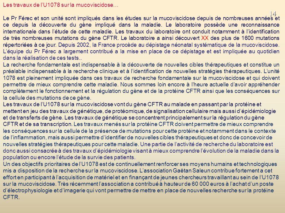 Les travaux de l'U1078 sur la mucoviscidose…