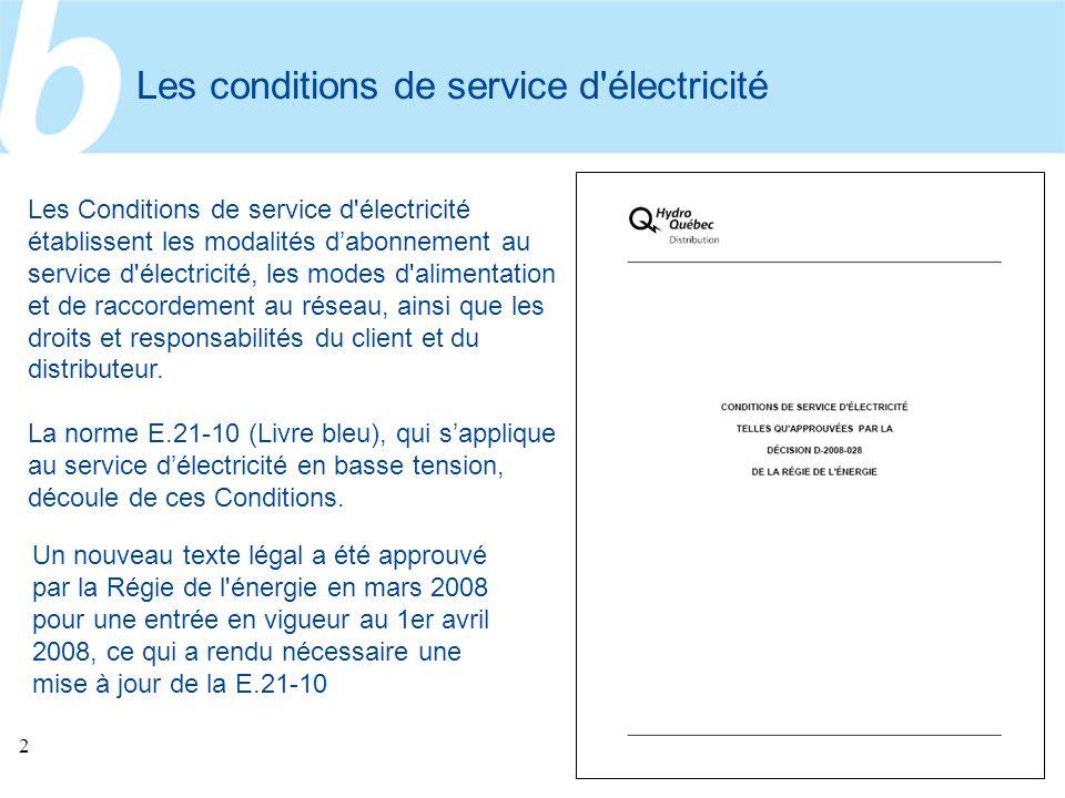 Les conditions de service d électricité