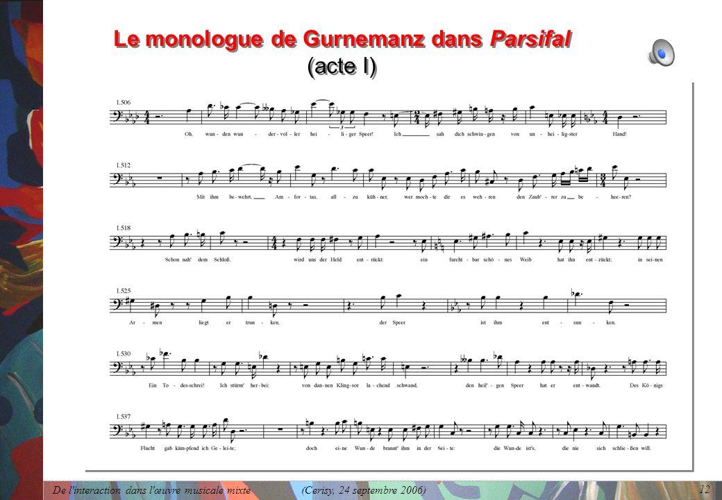 Le monologue de Gurnemanz dans Parsifal (acte I)