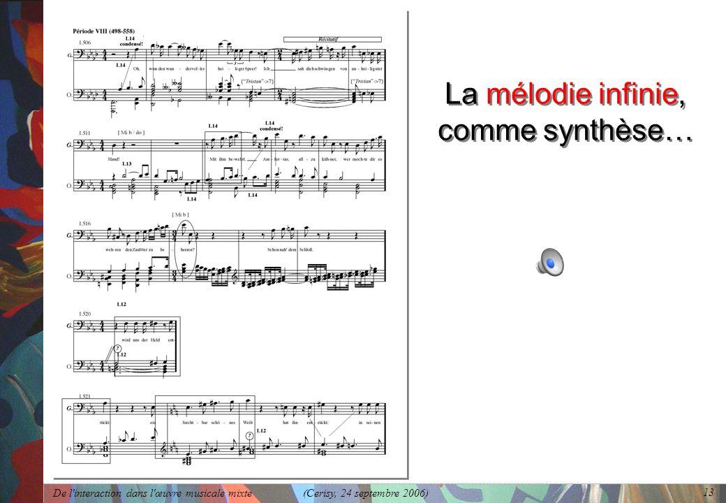 La mélodie infinie, comme synthèse…