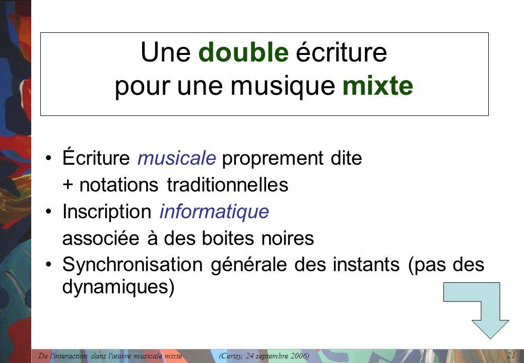 Une double écriture pour une musique mixte
