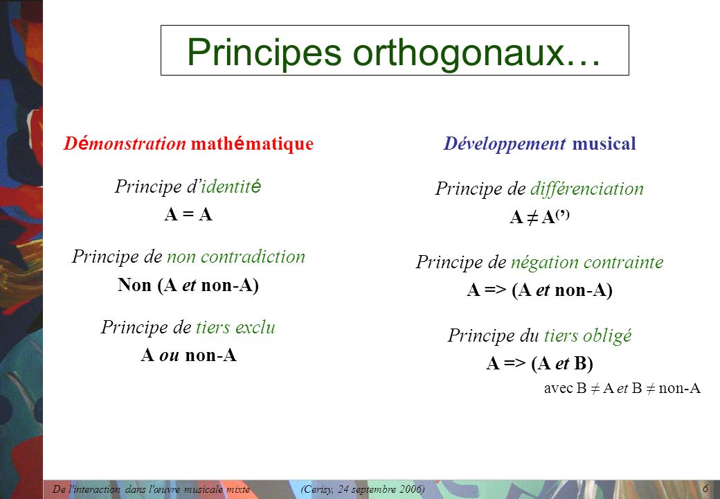 Principes orthogonaux…