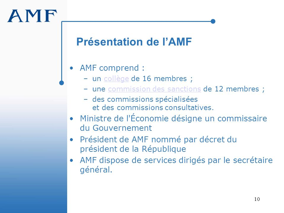 Présentation de l'AMF AMF comprend :