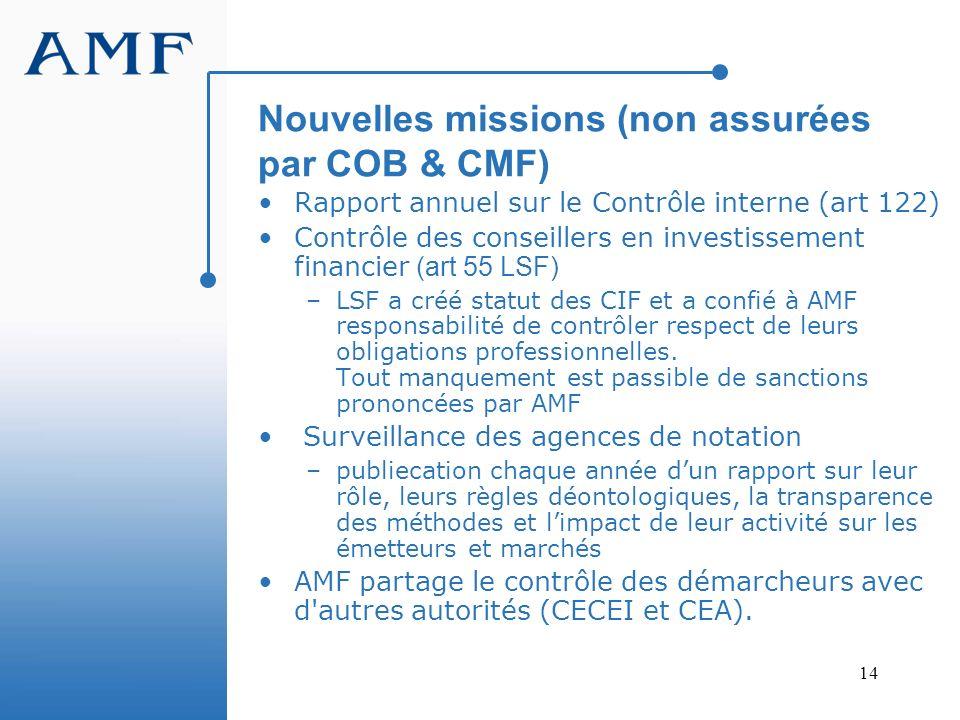 Nouvelles missions (non assurées par COB & CMF)