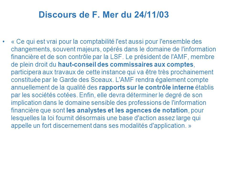 Discours de F. Mer du 24/11/03
