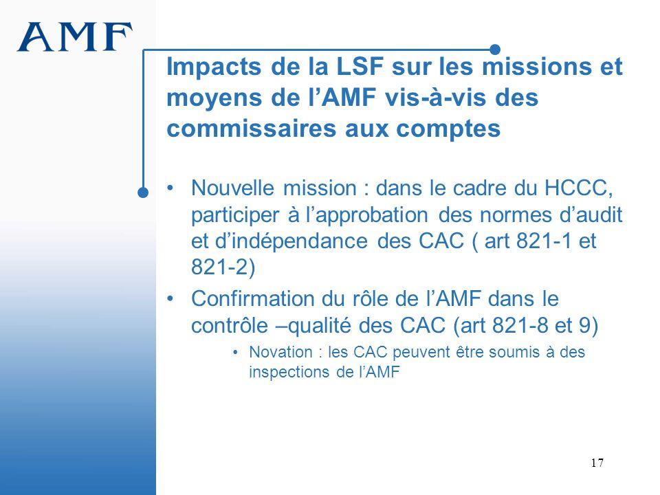 Impacts de la LSF sur les missions et moyens de l'AMF vis-à-vis des commissaires aux comptes