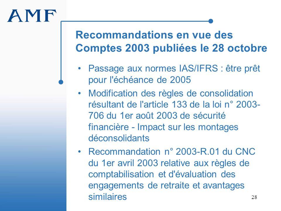 Recommandations en vue des Comptes 2003 publiées le 28 octobre