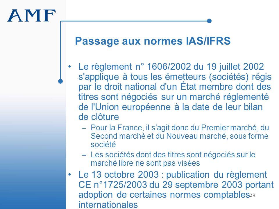 Passage aux normes IAS/IFRS