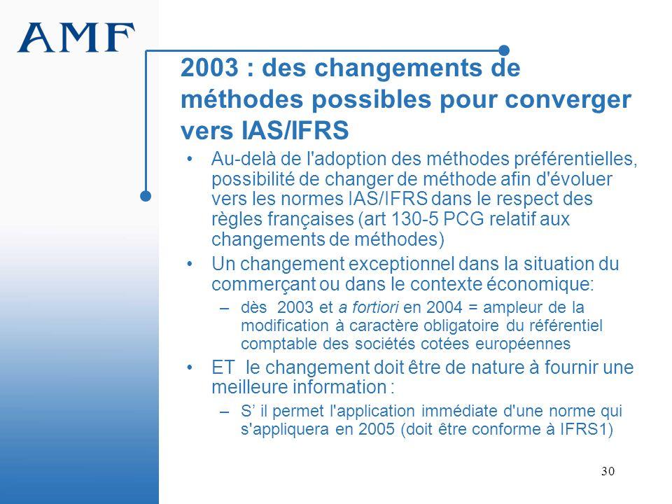 2003 : des changements de méthodes possibles pour converger vers IAS/IFRS
