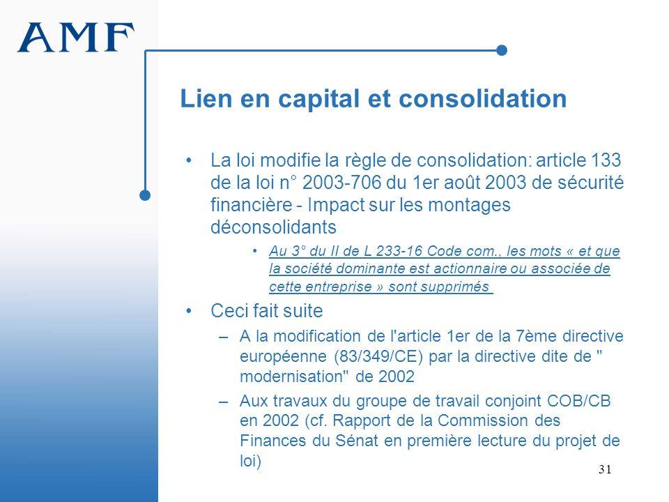 Lien en capital et consolidation