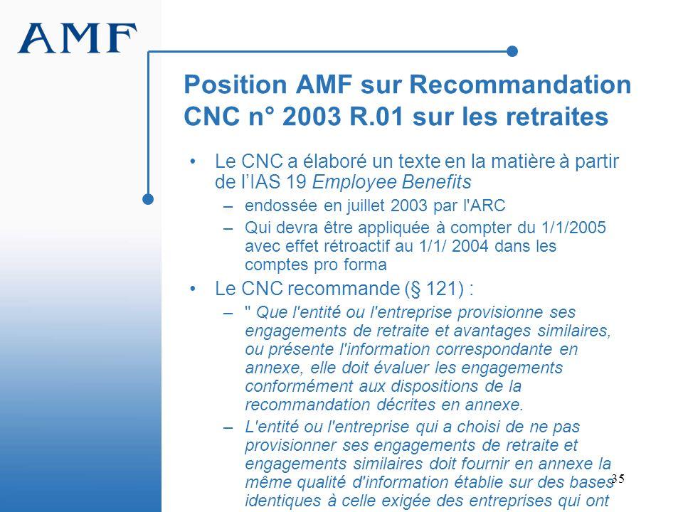 Position AMF sur Recommandation CNC n° 2003 R.01 sur les retraites