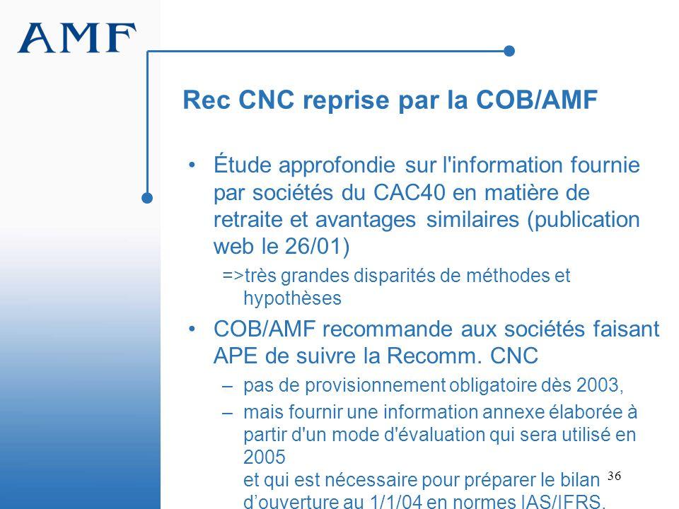 Rec CNC reprise par la COB/AMF