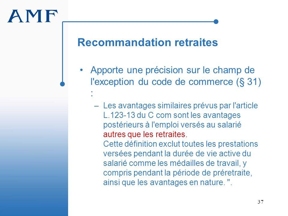 Recommandation retraites