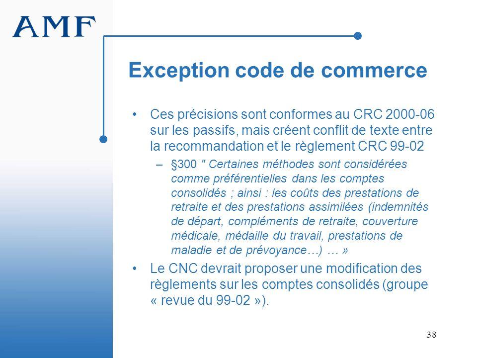 Exception code de commerce
