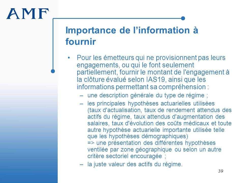 Importance de l'information à fournir