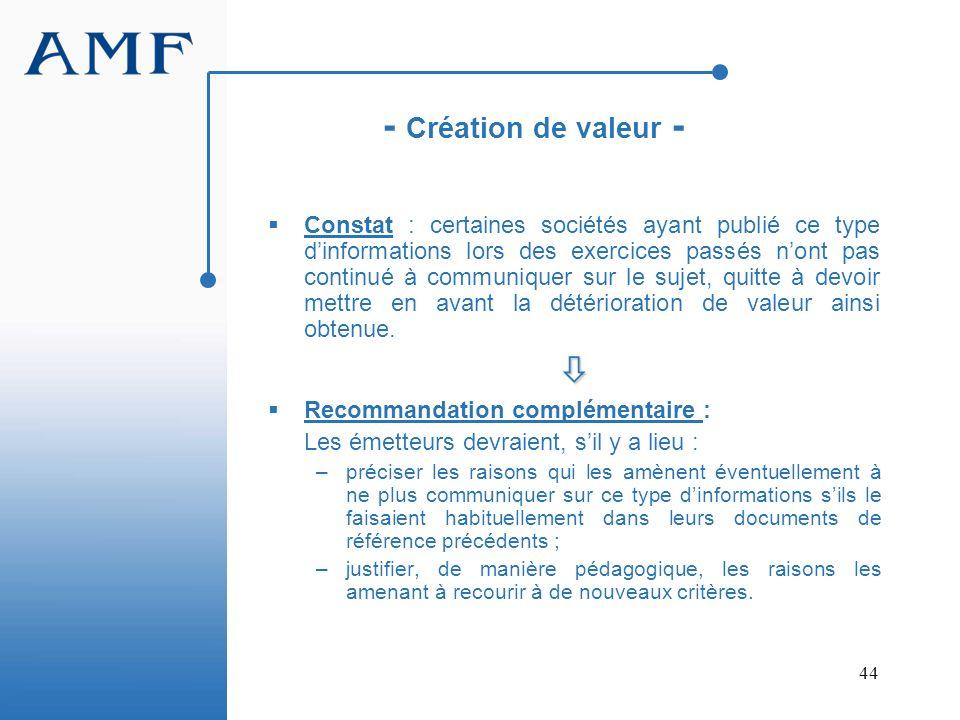 - Création de valeur -