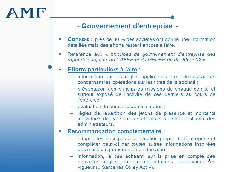 - Gouvernement d'entreprise -