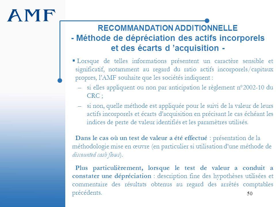 RECOMMANDATION ADDITIONNELLE - Méthode de dépréciation des actifs incorporels et des écarts d 'acquisition -