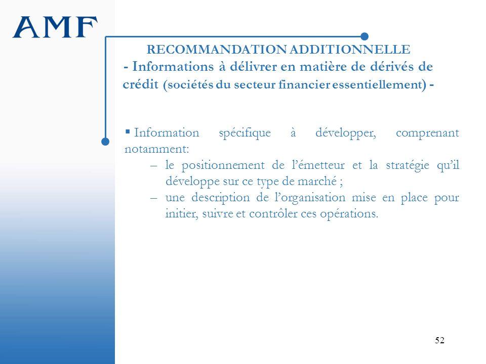 RECOMMANDATION ADDITIONNELLE - Informations à délivrer en matière de dérivés de crédit (sociétés du secteur financier essentiellement) -