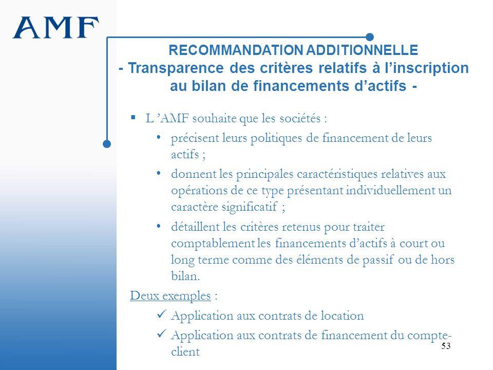 RECOMMANDATION ADDITIONNELLE - Transparence des critères relatifs à l'inscription au bilan de financements d'actifs -
