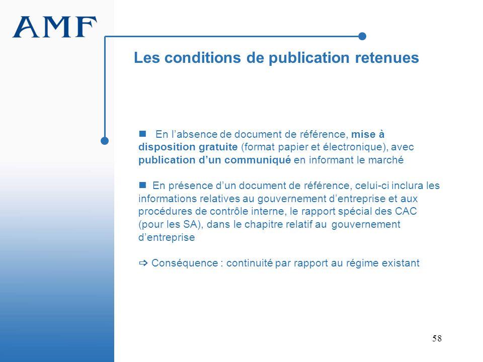 Les conditions de publication retenues