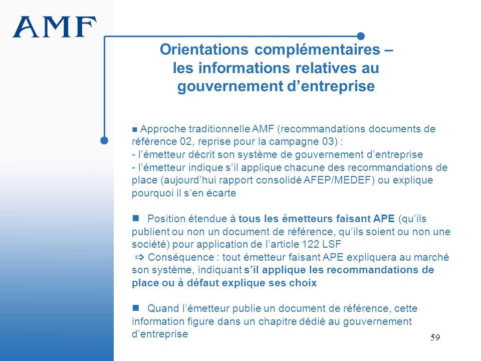 Orientations complémentaires – les informations relatives au gouvernement d'entreprise