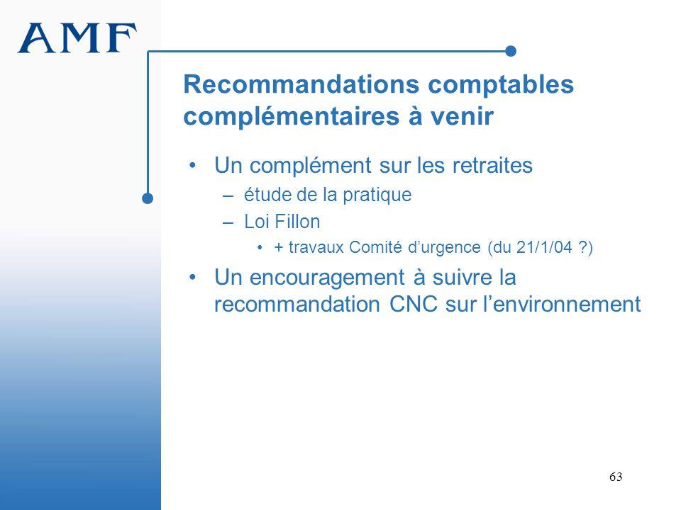 Recommandations comptables complémentaires à venir
