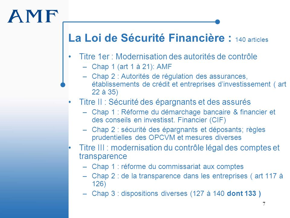 La Loi de Sécurité Financière : 140 articles
