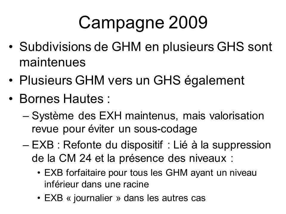 Campagne 2009 Subdivisions de GHM en plusieurs GHS sont maintenues
