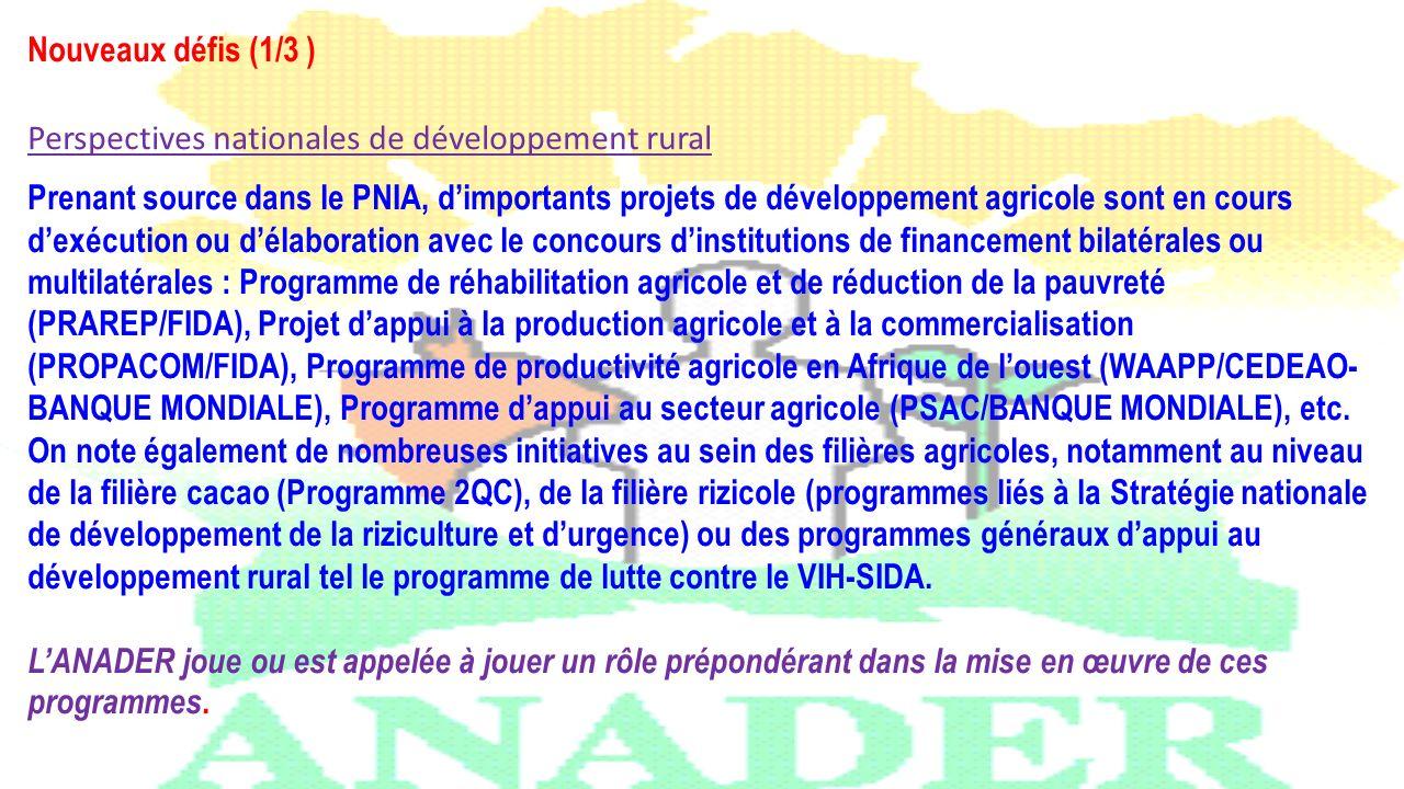Nouveaux défis (1/3 ) Perspectives nationales de développement rural.
