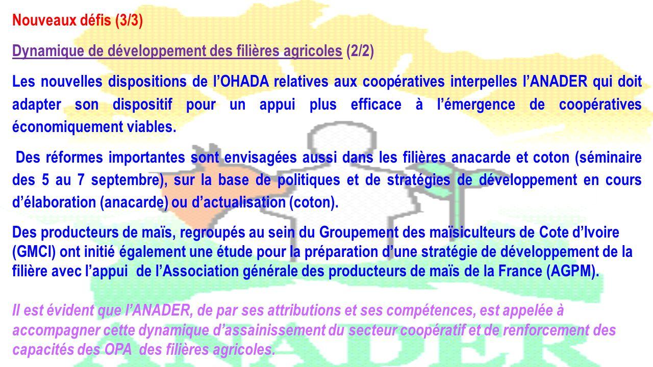 Nouveaux défis (3/3) Dynamique de développement des filières agricoles (2/2)