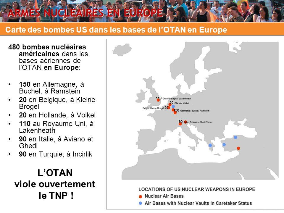 Carte des bombes US dans les bases de l'OTAN en Europe