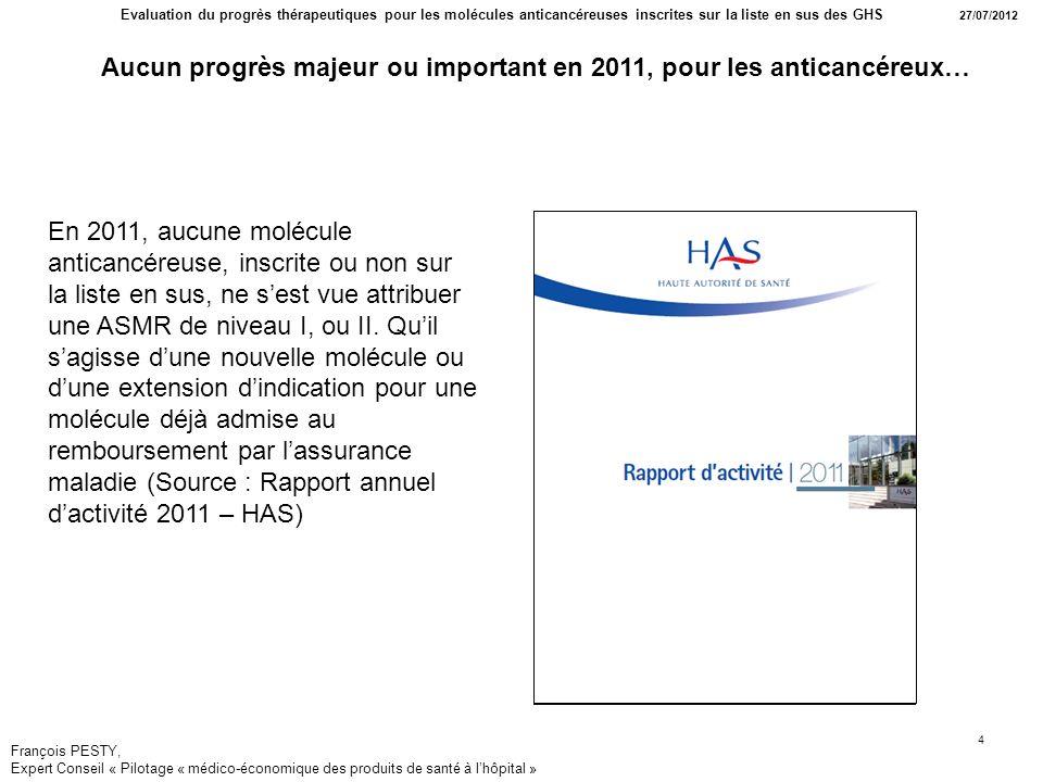 Aucun progrès majeur ou important en 2011, pour les anticancéreux…