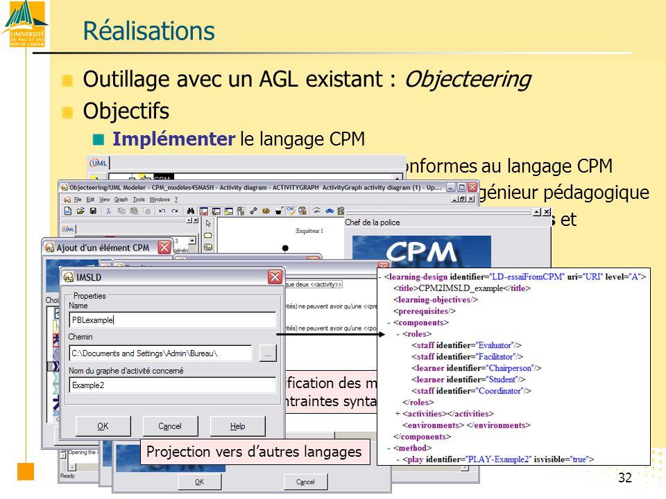 Réalisations Outillage avec un AGL existant : Objecteering Objectifs