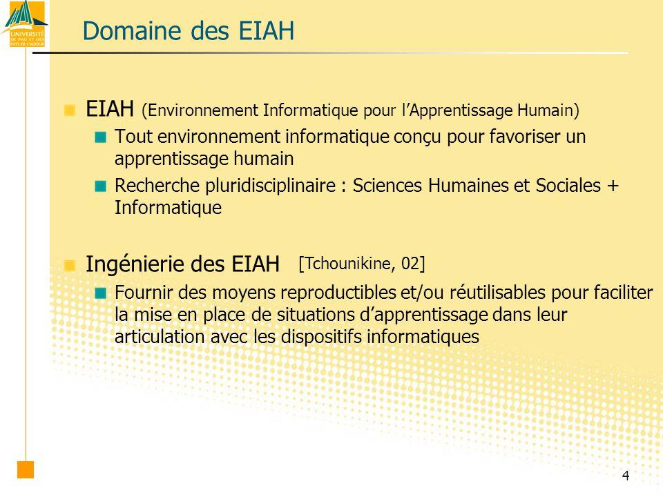 Domaine des EIAH EIAH (Environnement Informatique pour l'Apprentissage Humain)