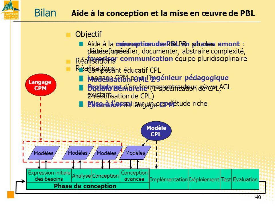 Bilan Aide à la conception et la mise en œuvre de PBL Objectif