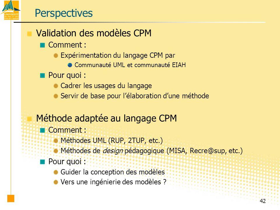Perspectives Validation des modèles CPM Méthode adaptée au langage CPM
