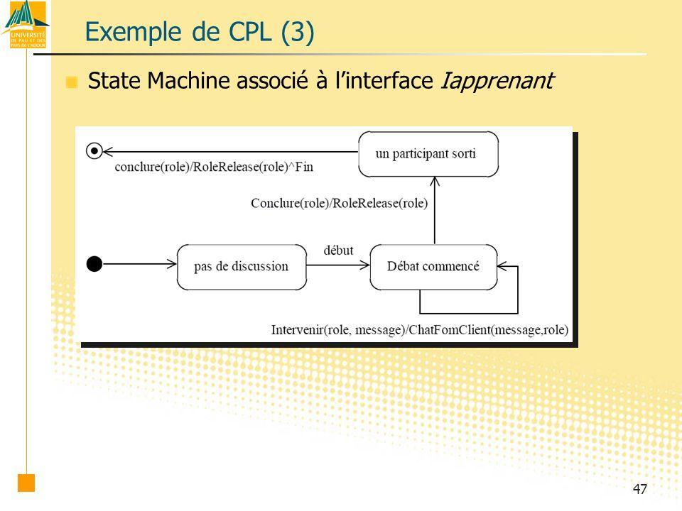 Exemple de CPL (3) State Machine associé à l'interface Iapprenant