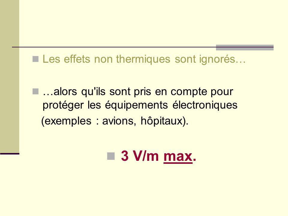3 V/m max. Les effets non thermiques sont ignorés…