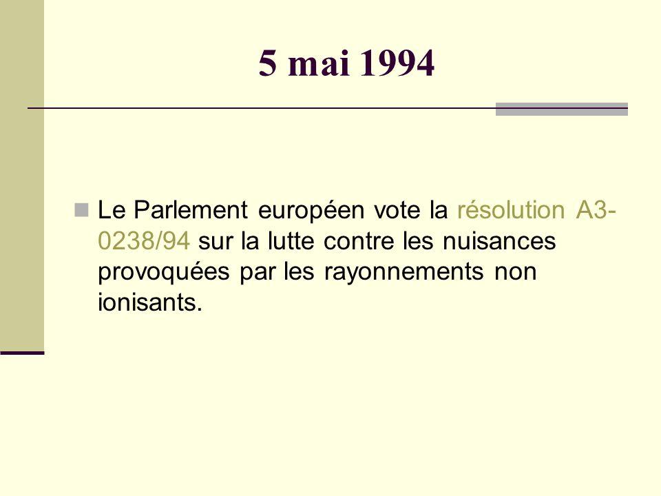 5 mai 1994 Le Parlement européen vote la résolution A3-0238/94 sur la lutte contre les nuisances provoquées par les rayonnements non ionisants.