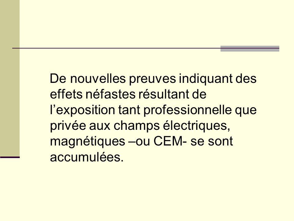 De nouvelles preuves indiquant des effets néfastes résultant de l'exposition tant professionnelle que privée aux champs électriques, magnétiques –ou CEM- se sont accumulées.
