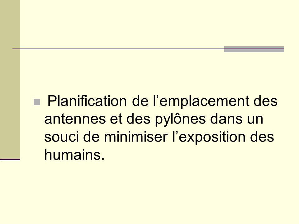 Planification de l'emplacement des antennes et des pylônes dans un souci de minimiser l'exposition des humains.