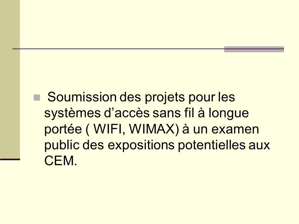 Soumission des projets pour les systèmes d'accès sans fil à longue portée ( WIFI, WIMAX) à un examen public des expositions potentielles aux CEM.