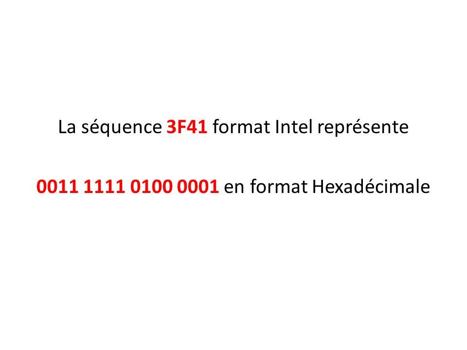 La séquence 3F41 format Intel représente
