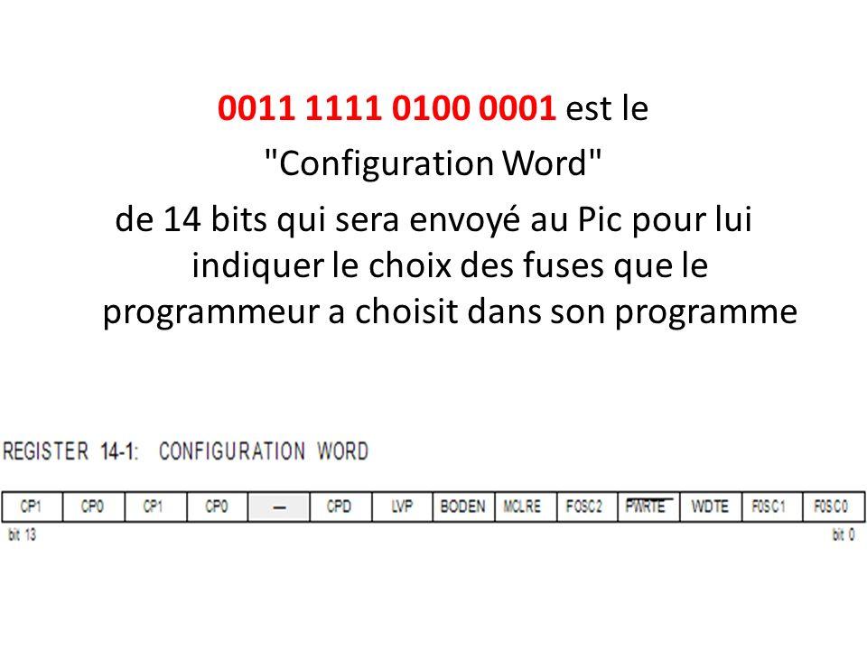 0011 1111 0100 0001 est le Configuration Word de 14 bits qui sera envoyé au Pic pour lui indiquer le choix des fuses que le programmeur a choisit dans son programme